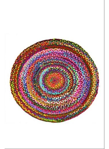 Giz Home Bolero Jüt Örgü Halı 90X90 Y1-2009 Yuvarlak Çok Renkli Renkli